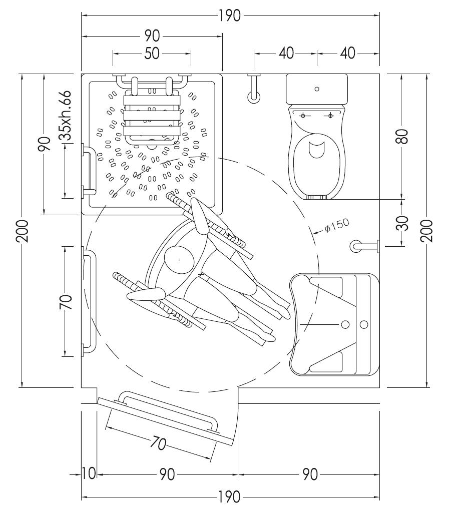 disegno e misure bagno per disabili